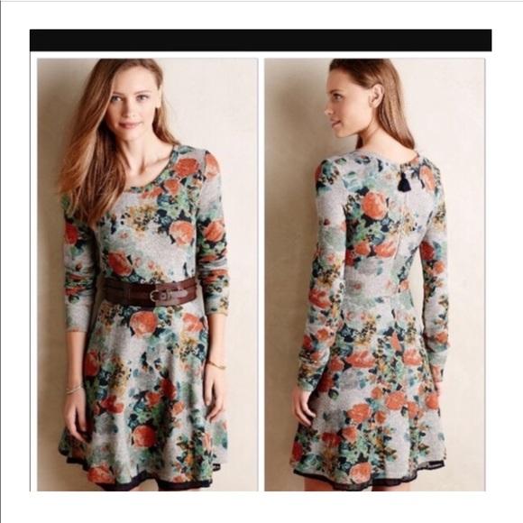 Anthropologie Dresses   Skirts - Saturday Sunday Floral Sweatshirt Dress 60efa24cf